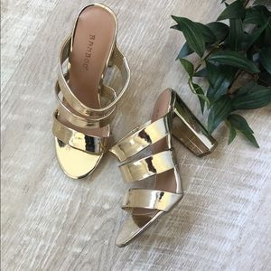 Shoes - Gold Strappy Mules